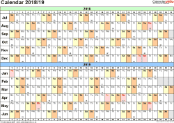 Template 2: PDF template for split year calendar 2018/2019 (landscape orientation, 1 page, A4)