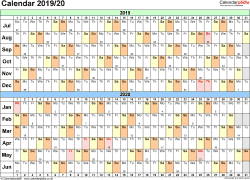 Template 2: Word template for split year calendar 2019/2020 (landscape orientation, 1 page, A4)