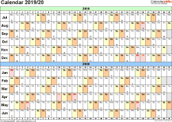 Template 2: PDF template for split year calendar 2019/2020 (landscape orientation, 1 page, A4)