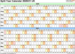 Template 2: Word template for split year calendar 2020/2021 (landscape orientation, 1 page, A4)