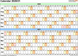 Template 2: PDF template for split year calendar 2020/2021 (landscape orientation, 1 page, A4)