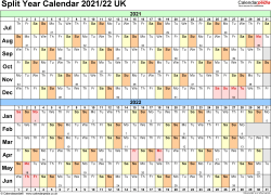Template 2: Word template for split year calendar 2021/2022 (landscape orientation, 1 page, A4)