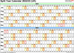 Download Template 3: Word template for split year calendar 2022/2023 (landscape orientation, 1 page, A4)