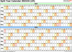 Download Template 3: Excel template for split year calendar 2023/2024 (landscape orientation, 1 page, A4)