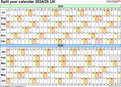 Download Template 3: Excel template for split year calendar 2024/2025 (landscape orientation, 1 page, A4)