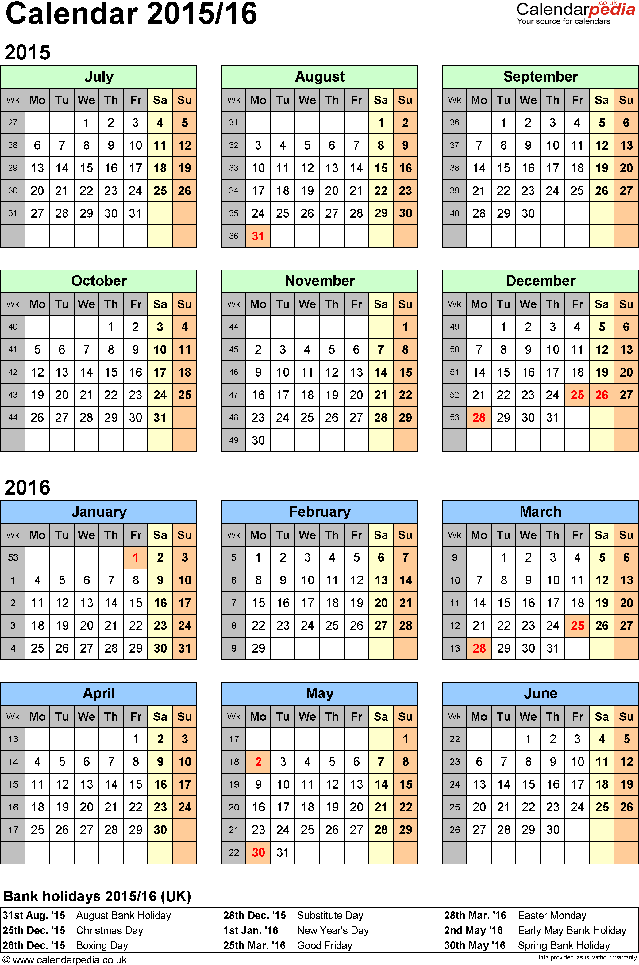 Template 2: Excel template for split year calendar 2015/2016 (portrait orientation, 1 page, A4)