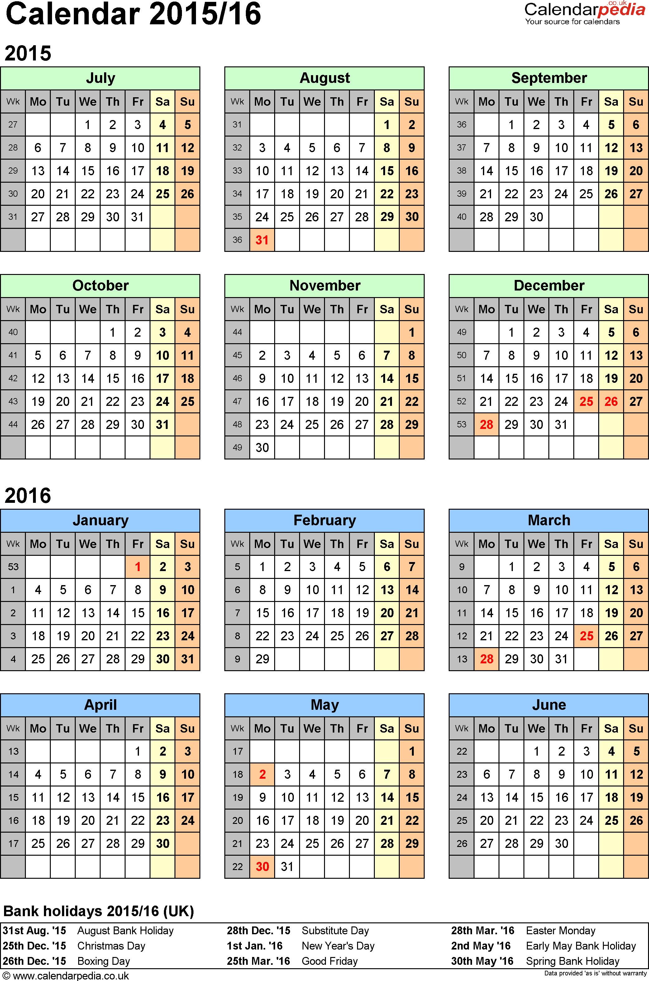 Download Template 2: PDF template for split year calendar 2015/2016 (portrait orientation, 1 page, A4)