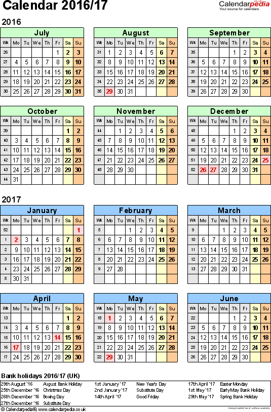 Split year calendars 2016/17 (July to June) for Excel (UK version)