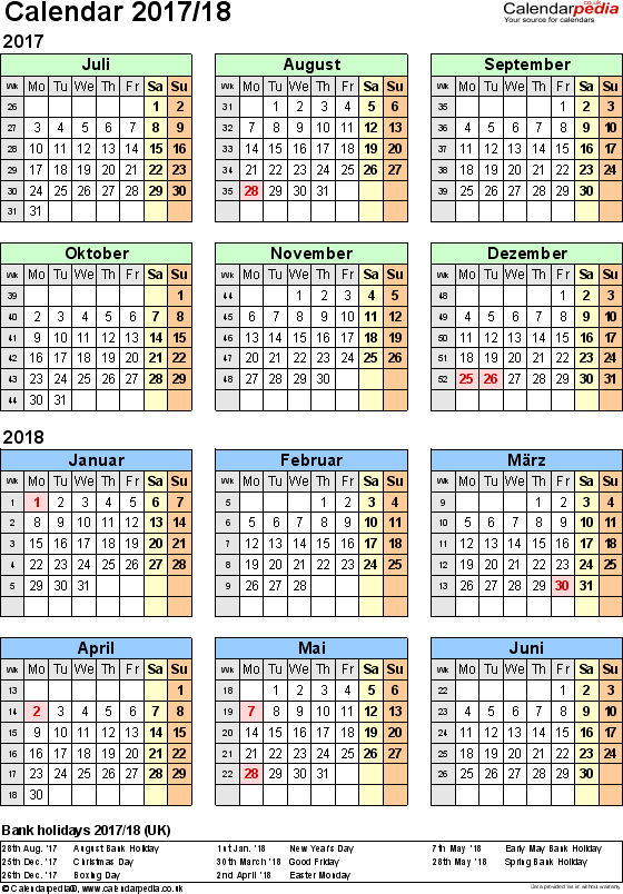 Template 2: Word template for split year calendar 2017/2018 (portrait orientation, 1 page, A4)