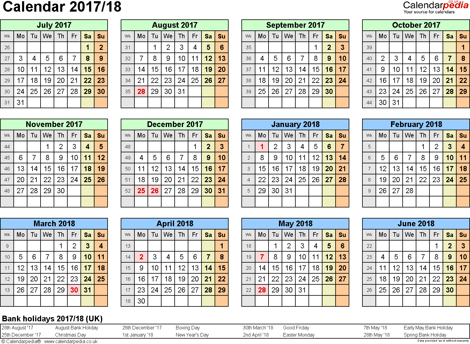 Template 3: Word template for split year calendar 2017/2018 (landscape orientation, 1 page, A4)