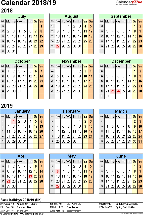 Template 2: Excel template for split year calendar 2018/2019 (portrait orientation, 1 page, A4)