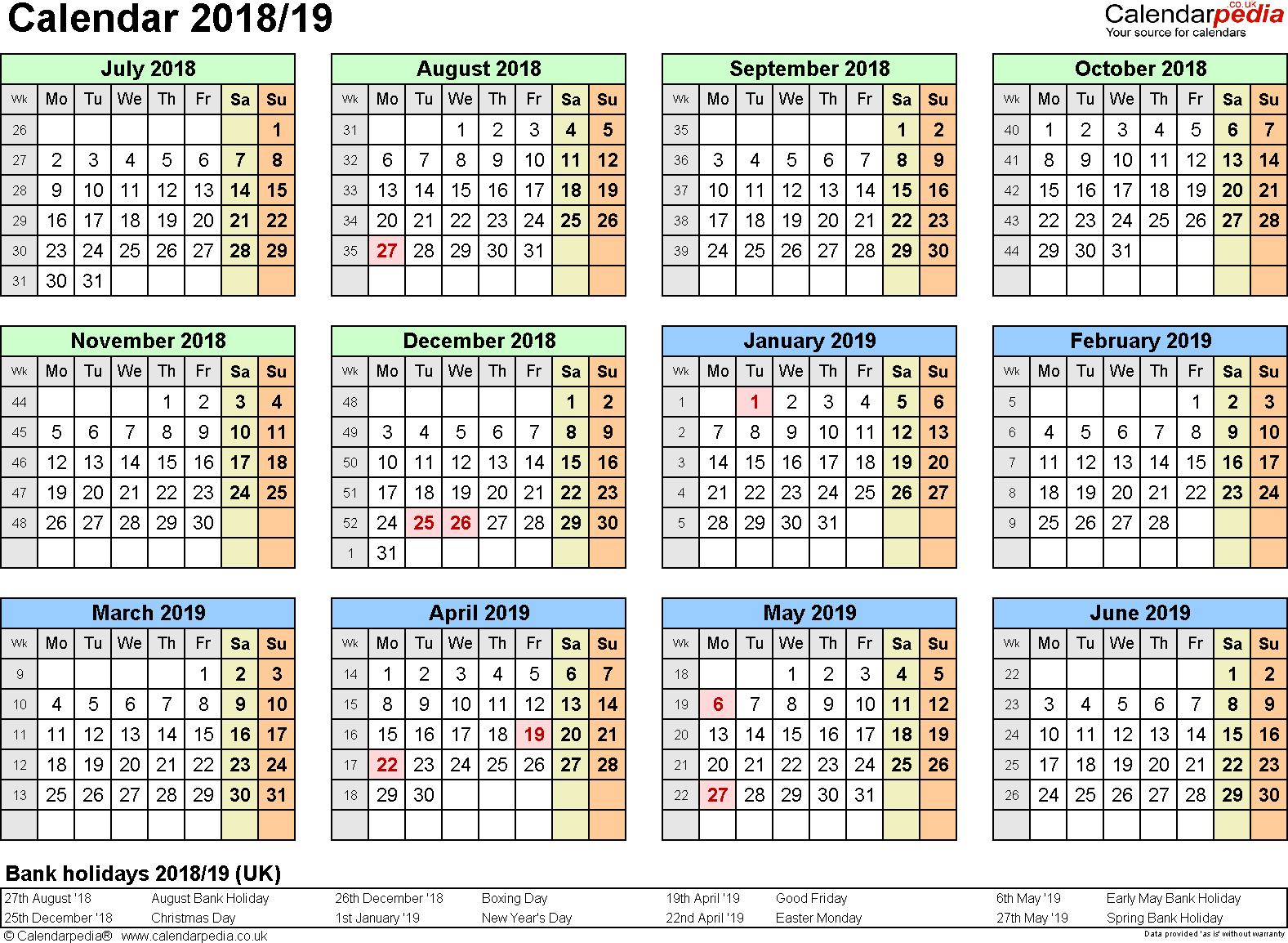 Template 3: PDF template for split year calendar 2018/2019 (landscape orientation, 1 page, A4)