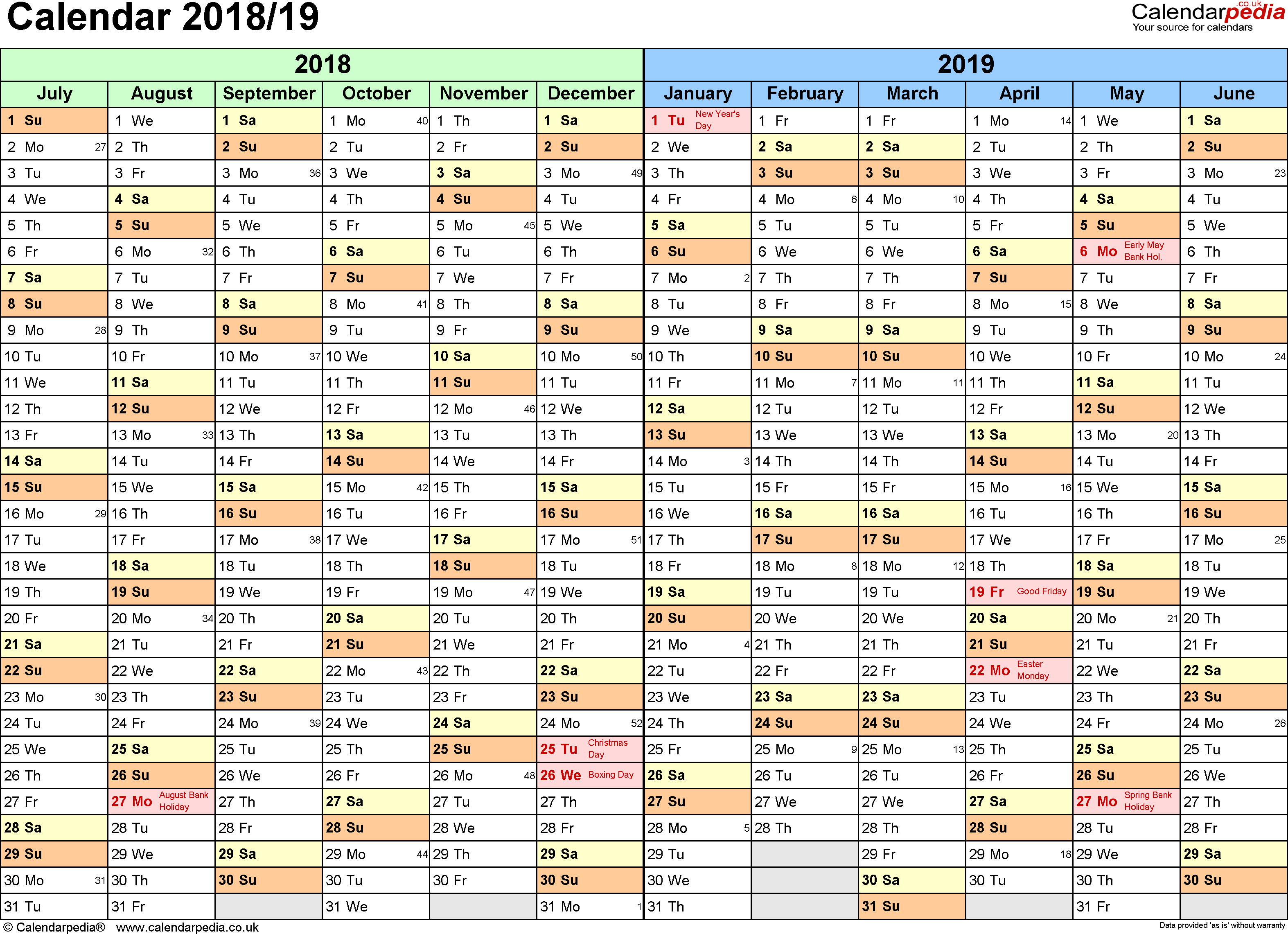 Template 1: PDF template for split year calendar 2018/2019 (landscape orientation, 1 page, A4)