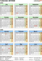 Template 2: Word template for split year calendar 2019/2020 (portrait orientation, 1 page, A4)