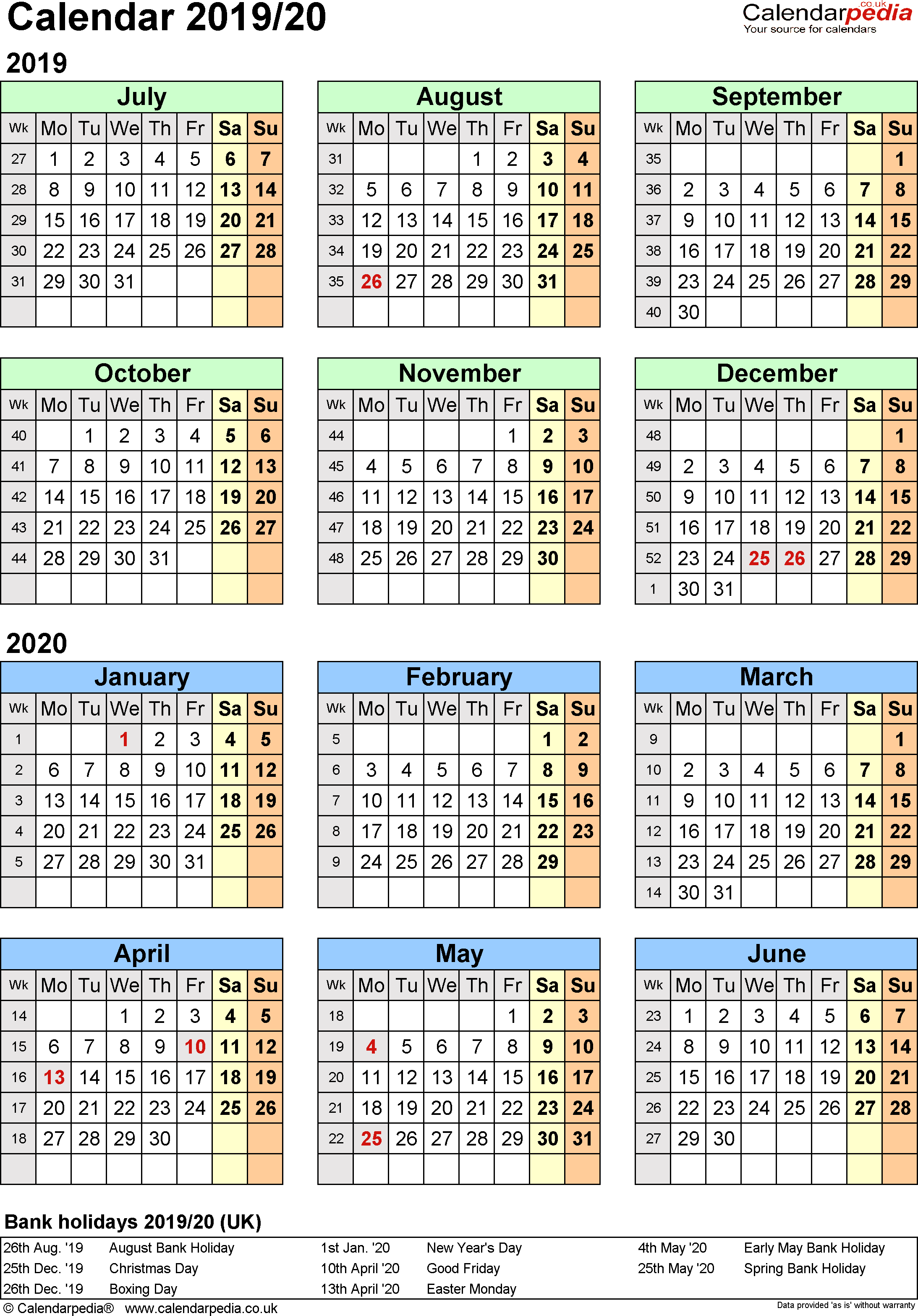 Template 2: PDF template for split year calendar 2019/2020 (portrait orientation, 1 page, A4)