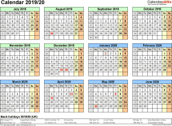 Template 3: PDF template for split year calendar 2019/2020 (landscape orientation, 1 page, A4)