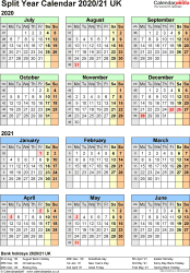 Template 2: Word template for split year calendar 2020/2021 (portrait orientation, 1 page, A4)