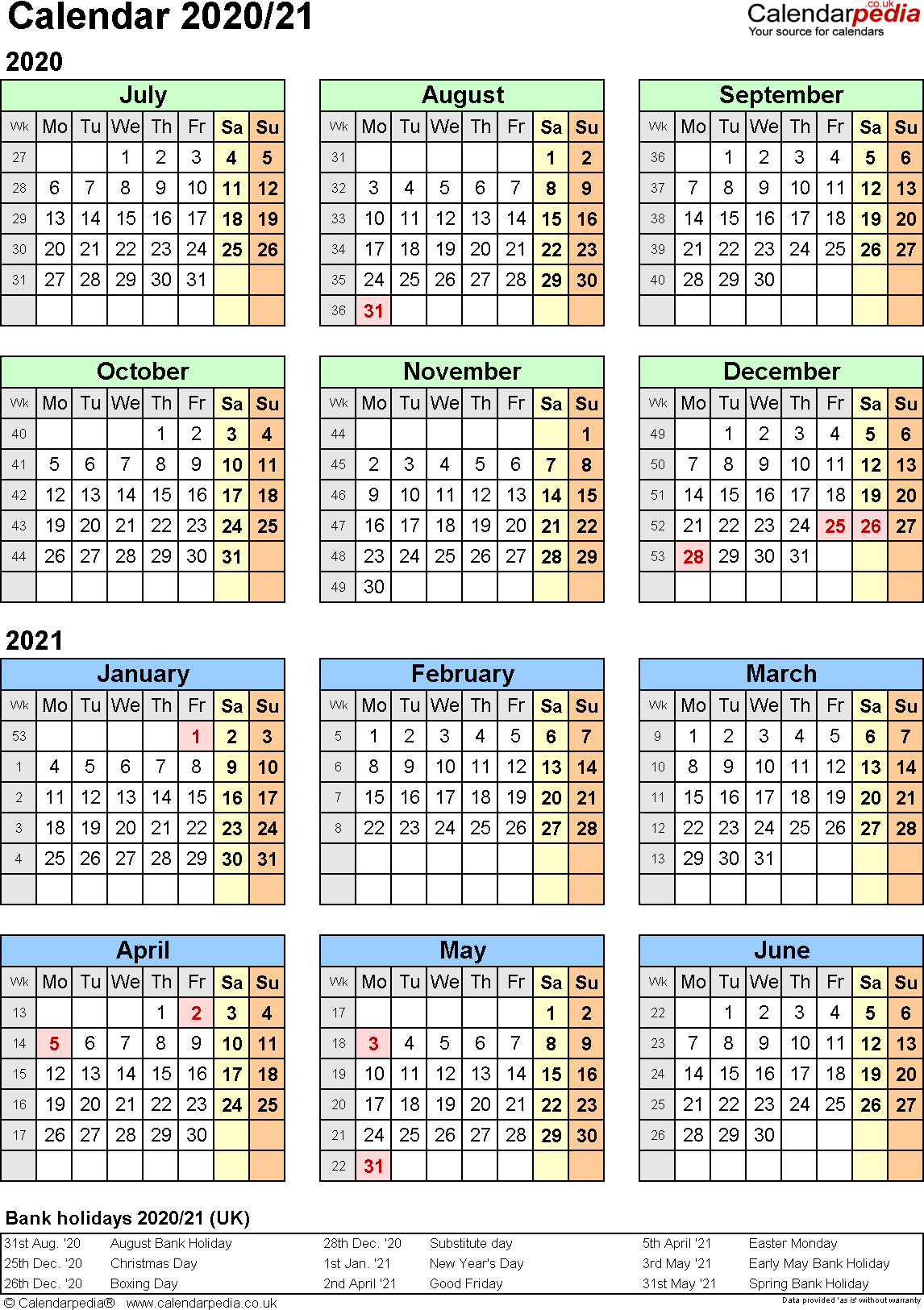 Template 2: PDF template for split year calendar 2020/2021 (portrait orientation, 1 page, A4)