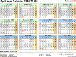 Template 3: PDF template for split year calendar 2020/2021 (landscape orientation, 1 page, A4)
