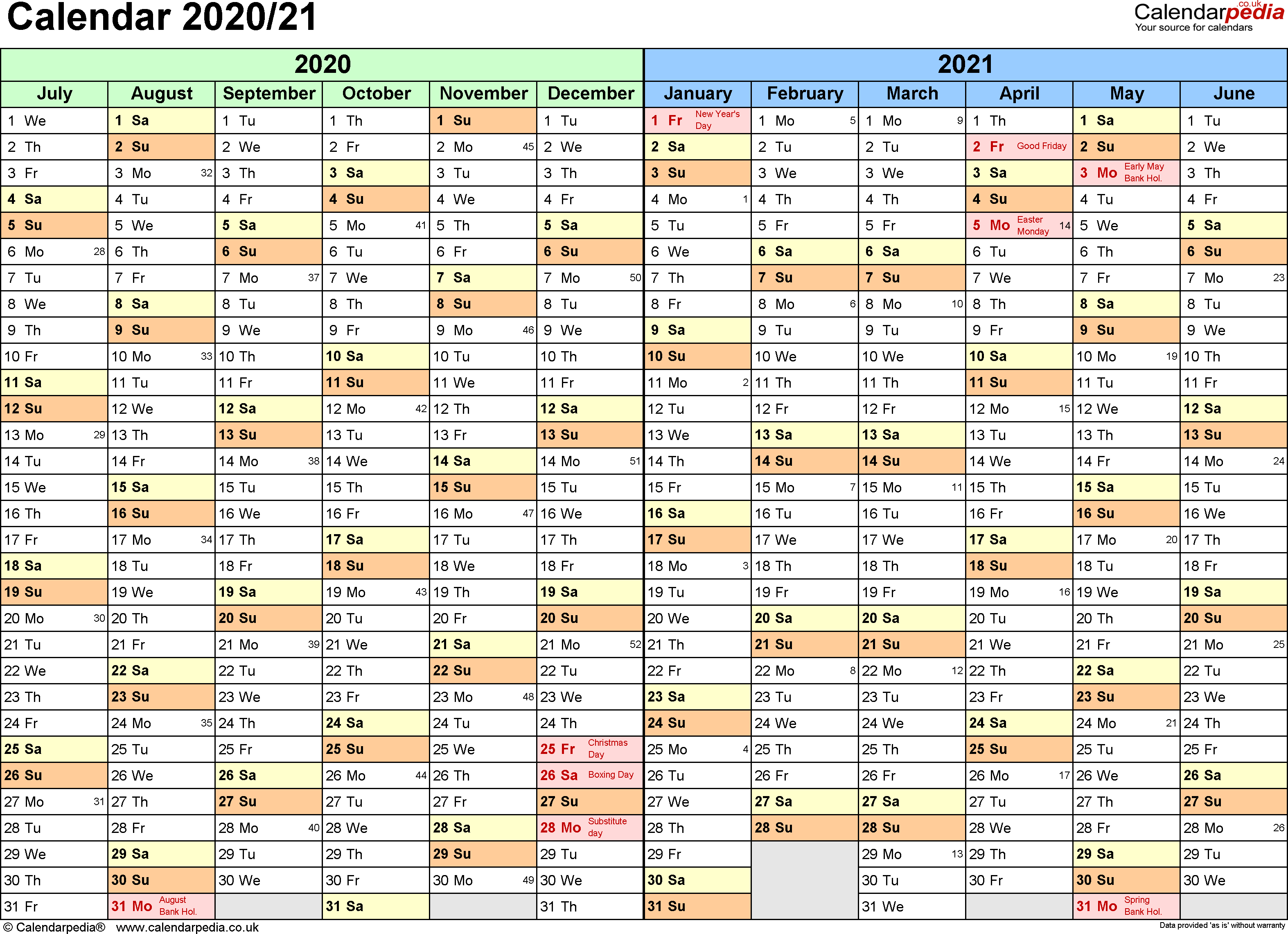 Template 1: PDF template for split year calendar 2020/2021 (landscape orientation, 1 page, A4)