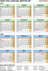 Template 2: Word template for split year calendar 2021/2022 (portrait orientation, 1 page, A4)