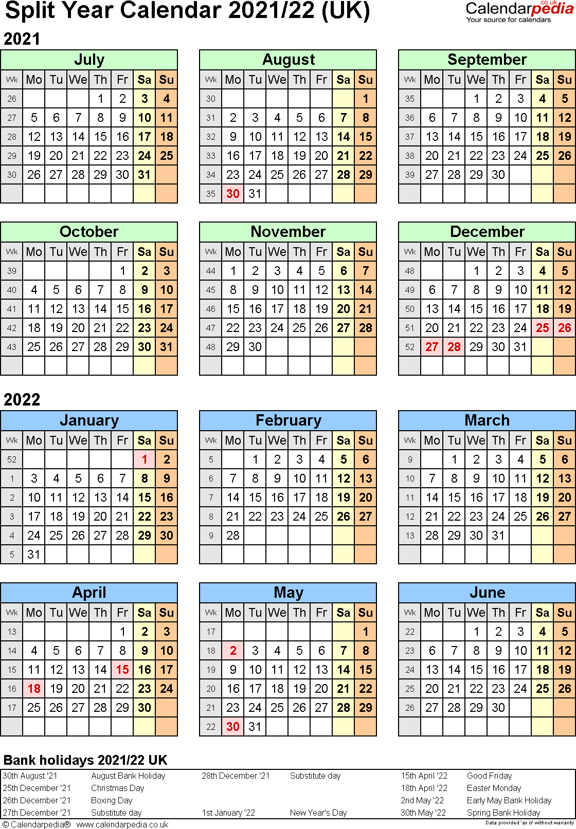 Template 2: Excel template for split year calendar 2021/2022 (portrait orientation, 1 page, A4)