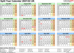Template 3: Excel template for split year calendar 2021/2022 (landscape orientation, 1 page, A4)