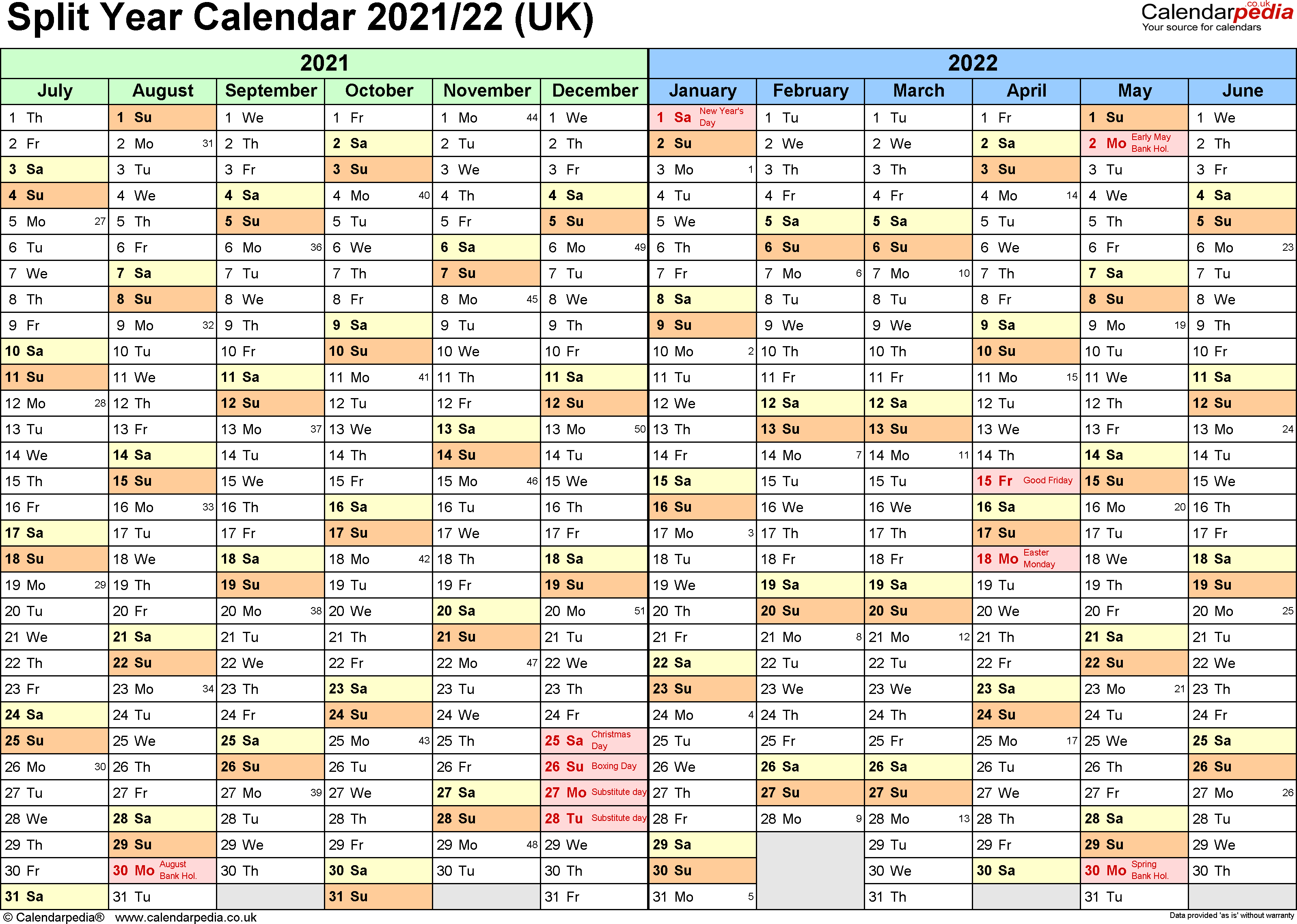 Template 1: Excel template for split year calendar 2021/2022 (landscape orientation, 1 page, A4)
