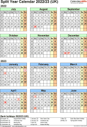 Download Template 7: Word template for split year calendar 2022/2023 (portrait orientation, 1 page, A4)