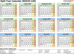 Download Template 4: Word template for split year calendar 2022/2023 (landscape orientation, 1 page, A4)