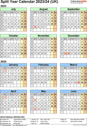 Download Template 7: Word template for split year calendar 2023/2024 (portrait orientation, 1 page, A4)