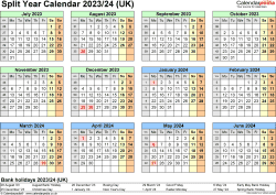 Download Template 4: Excel template for split year calendar 2023/2024 (landscape orientation, 1 page, A4)