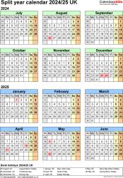 Download Template 7: Excel template for split year calendar 2024/2025 (portrait orientation, 1 page, A4)