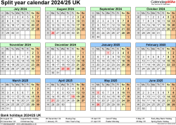 Download Template 4: Excel template for split year calendar 2024/2025 (landscape orientation, 1 page, A4)
