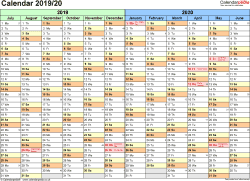 Download Template 1: PDF template for split year calendar 2019/2020 (landscape orientation, 1 page, A4)