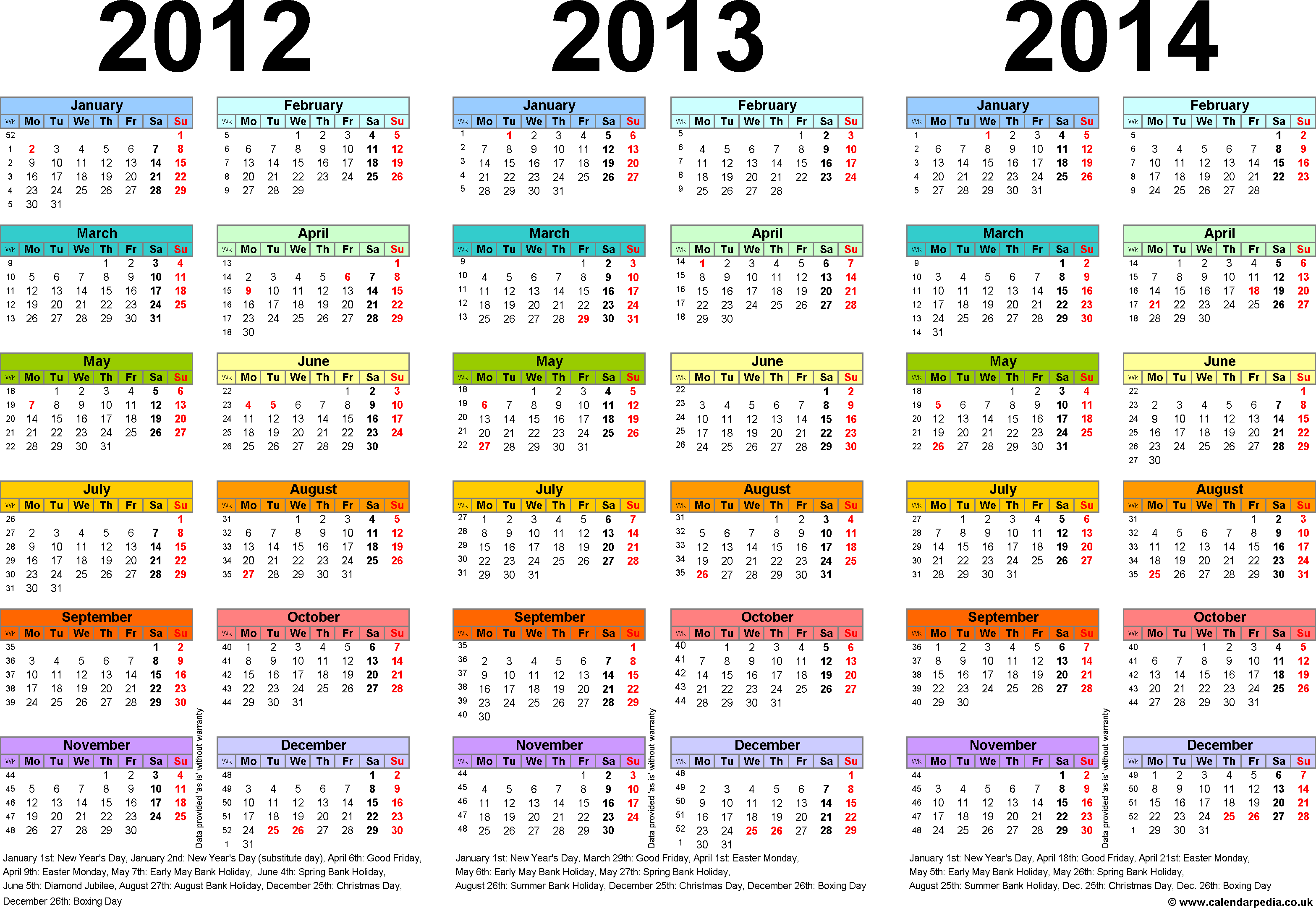 Template 1: Excel template for three year calendar 2012-2014 in colour (landscape orientation, 1 page, A4)