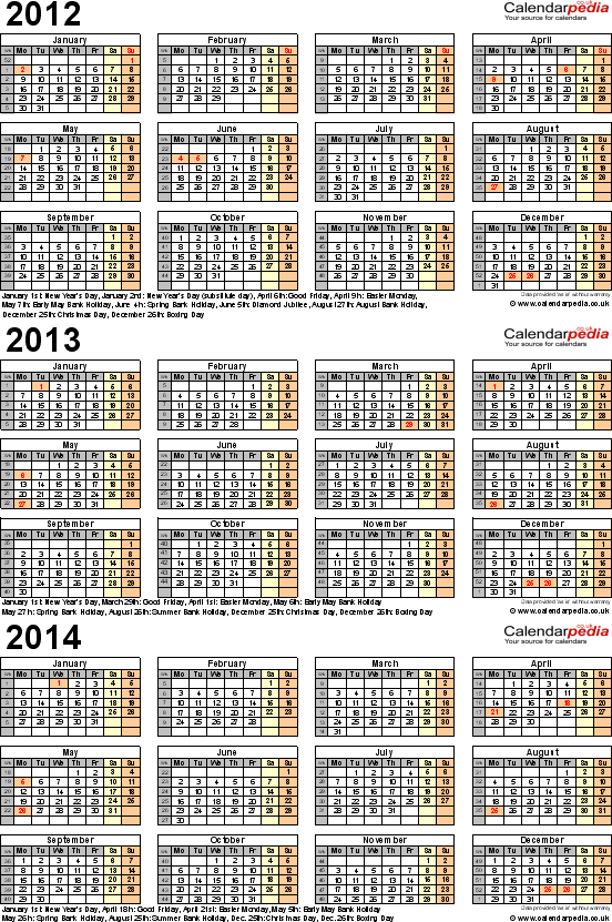 Download Template 4: PDF template for three year calendar 2012-2014 (portrait orientation, 1 page, A4)