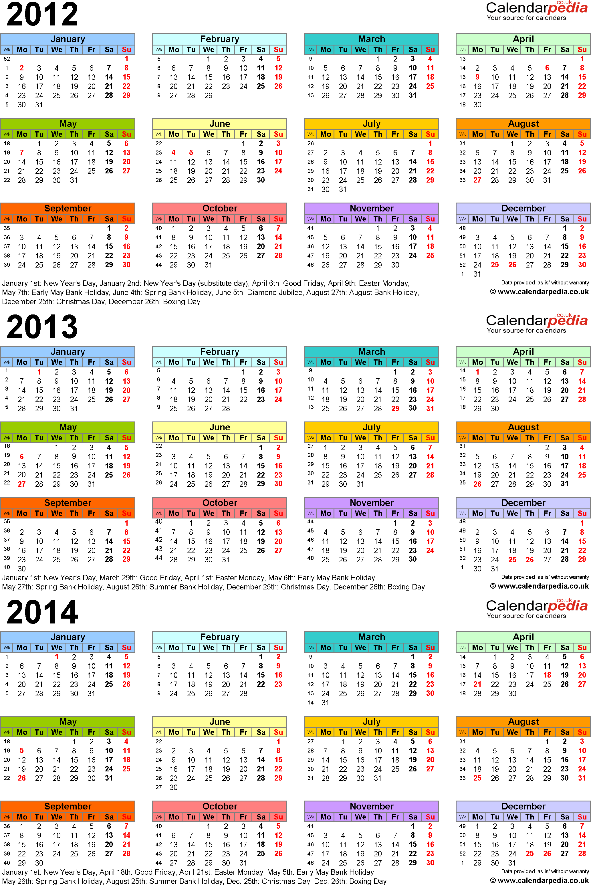 Template 3: Excel template for three year calendar 2012-2014 in colour (portrait orientation, 1 page, A4)