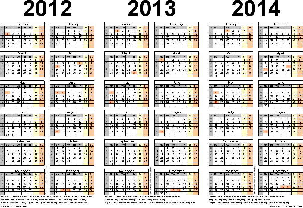 Download Template 2: PDF template for three year calendar 2012-2014 (landscape orientation, 1 page, A4)