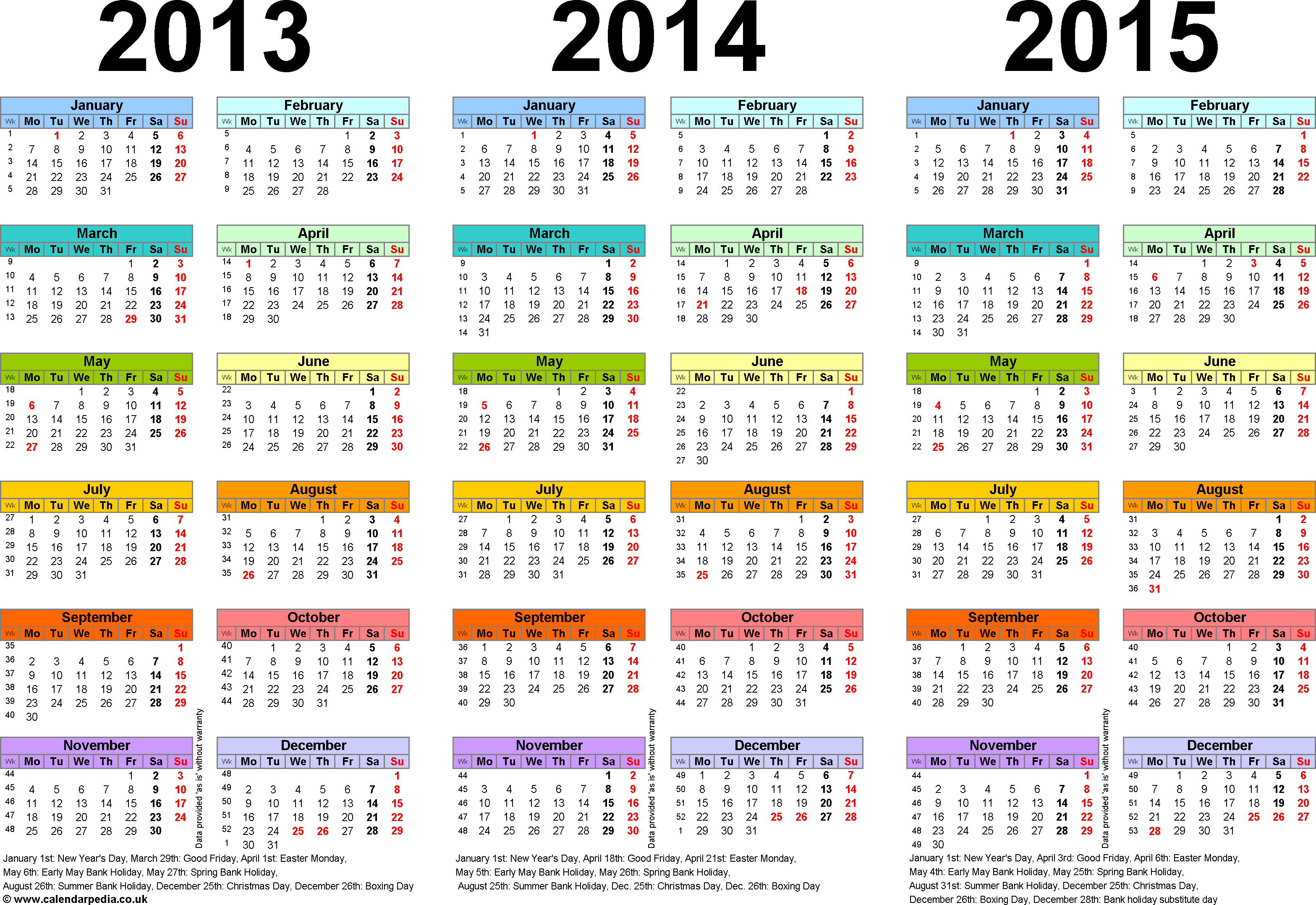 Template 1: PDF template for three year calendar 2013-2015 in colour (landscape orientation, 1 page, A4)