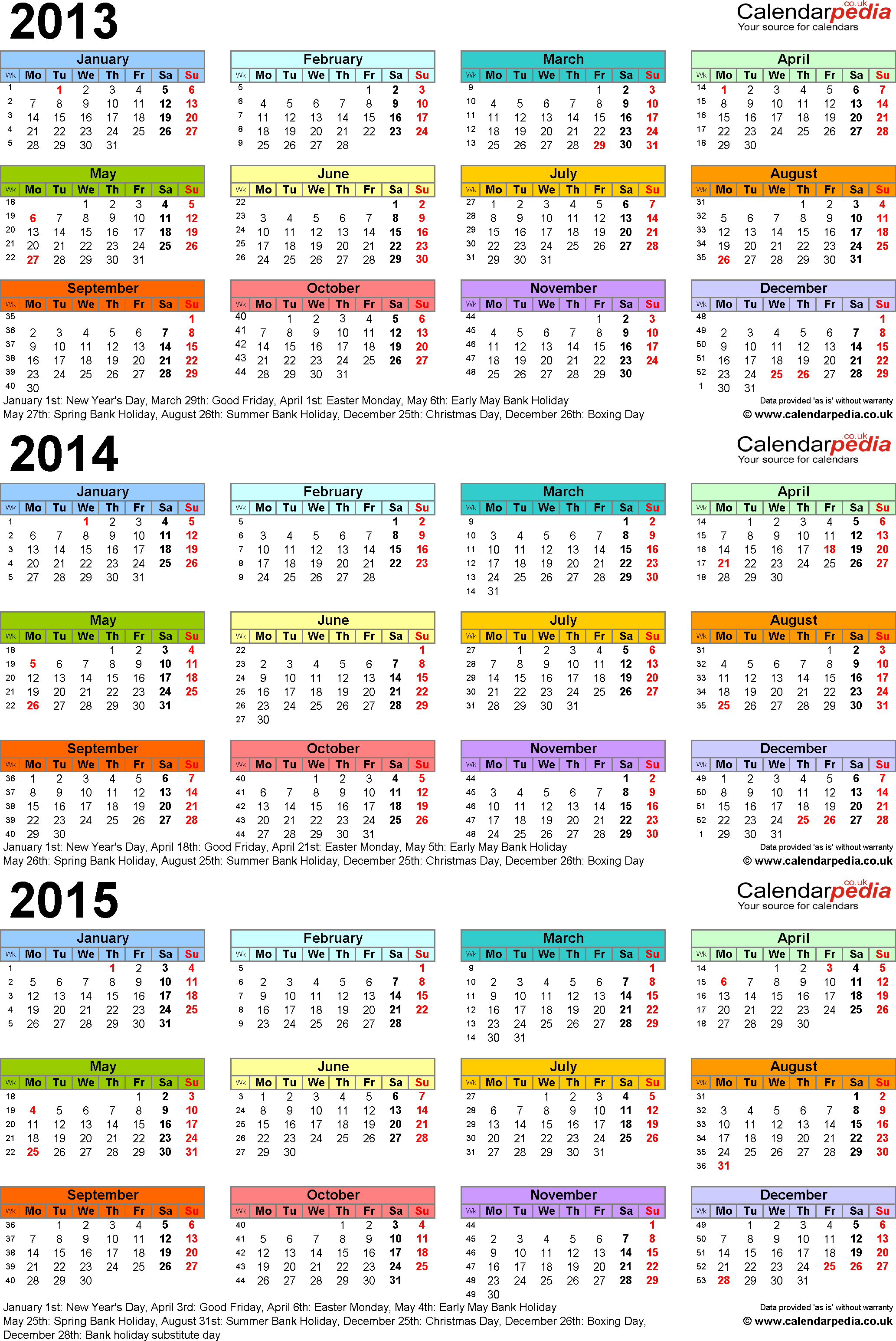Template 3: PDF template for three year calendar 2013-2015 in colour (portrait orientation, 1 page, A4)