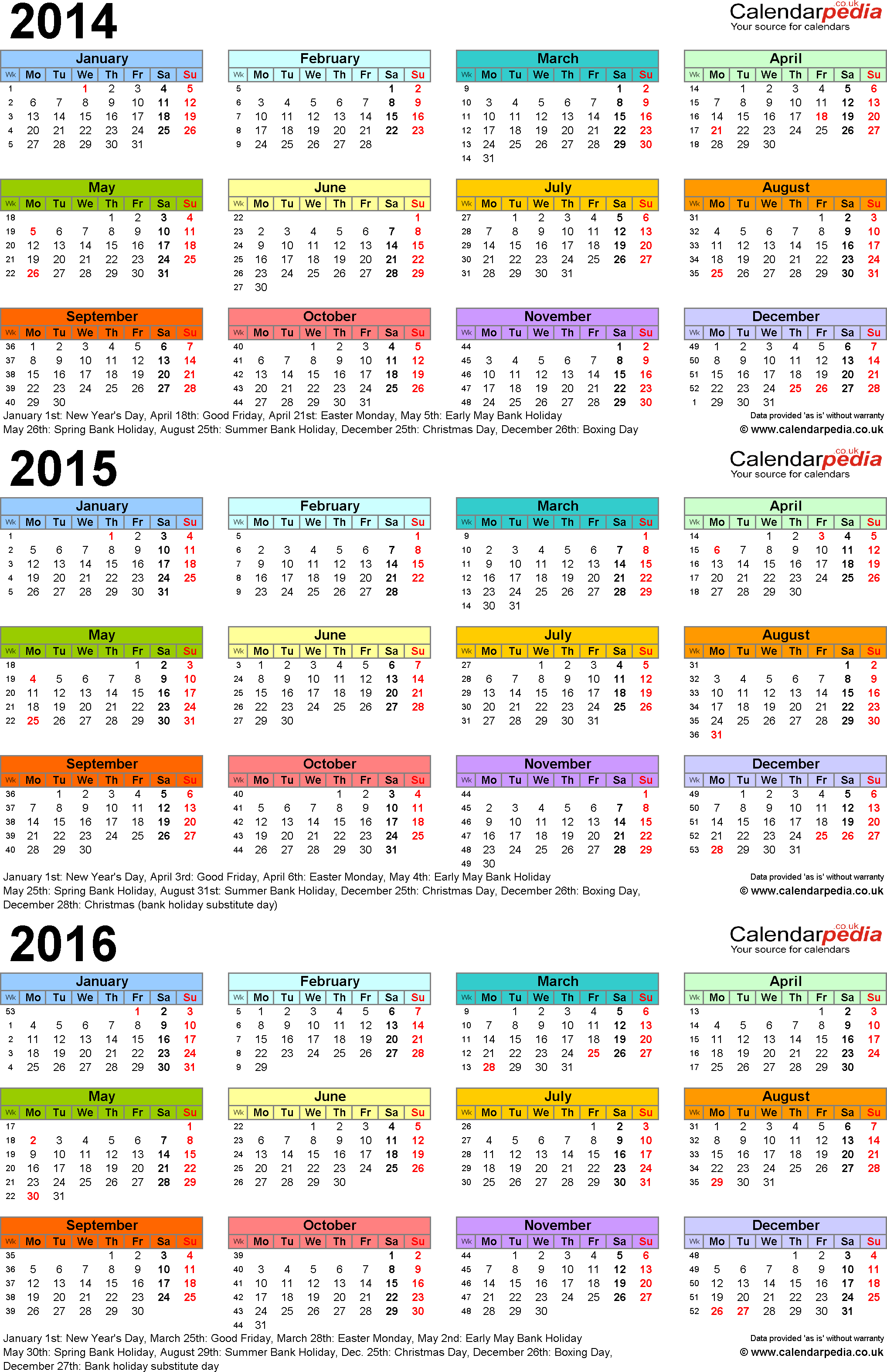 Download Template 3: PDF template for three year calendar 2014-2016 in colour (portrait orientation, 1 page, A4)