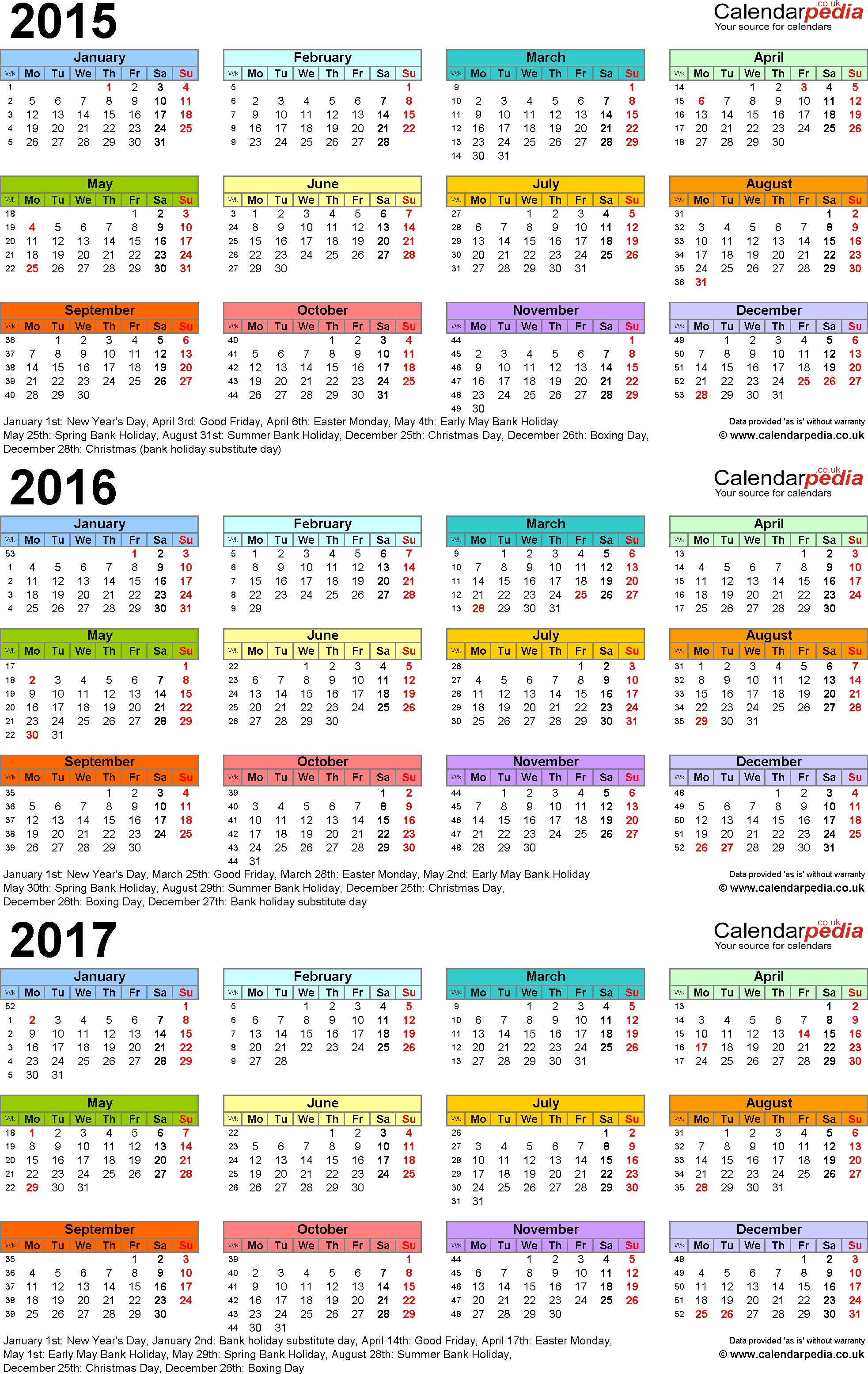 Download Template 3: PDF template for three year calendar 2015-2017 in colour (portrait orientation, 1 page, A4)