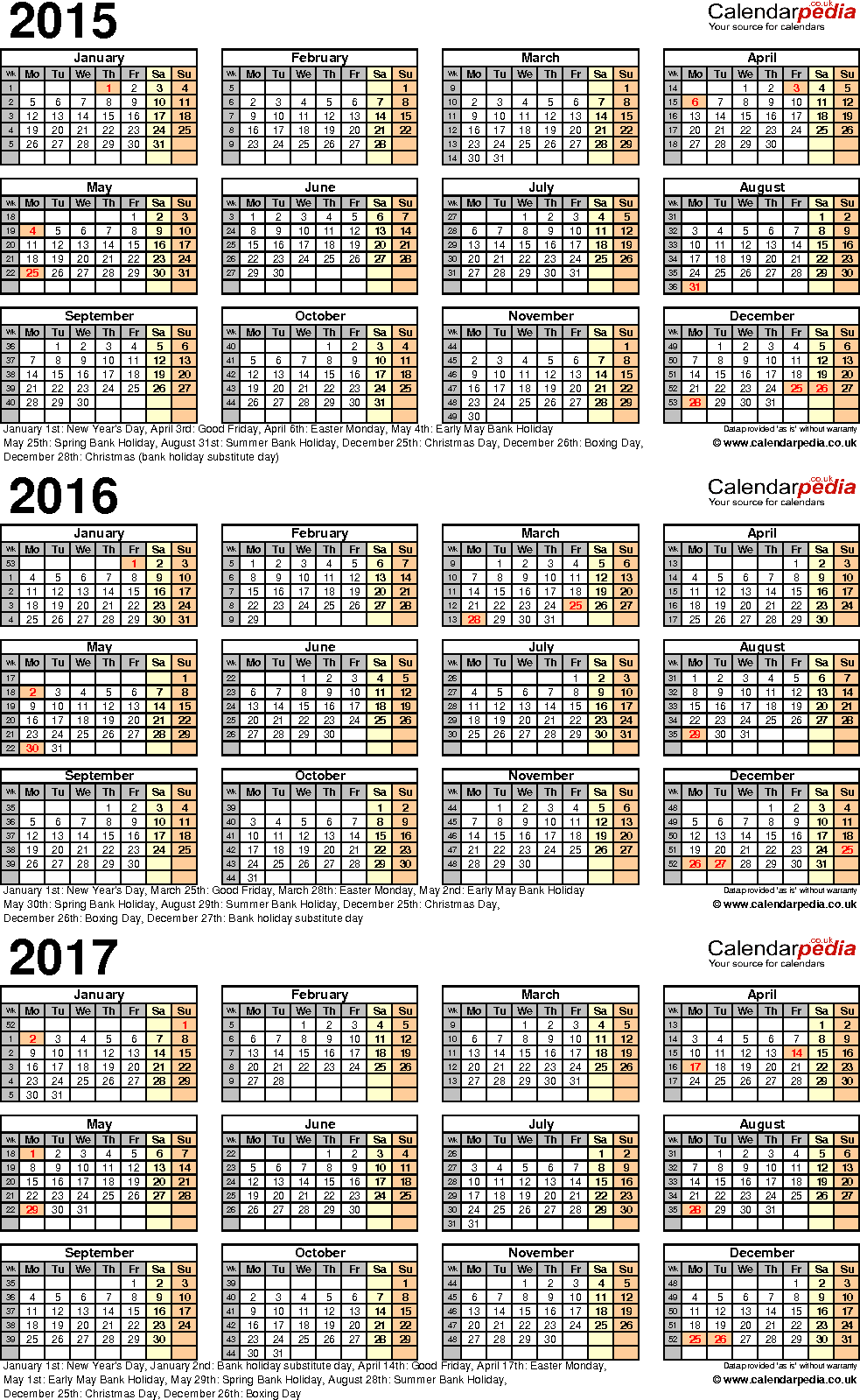 Template 4: PDF template for three year calendar 2015-2017 (portrait orientation, 1 page, A4)