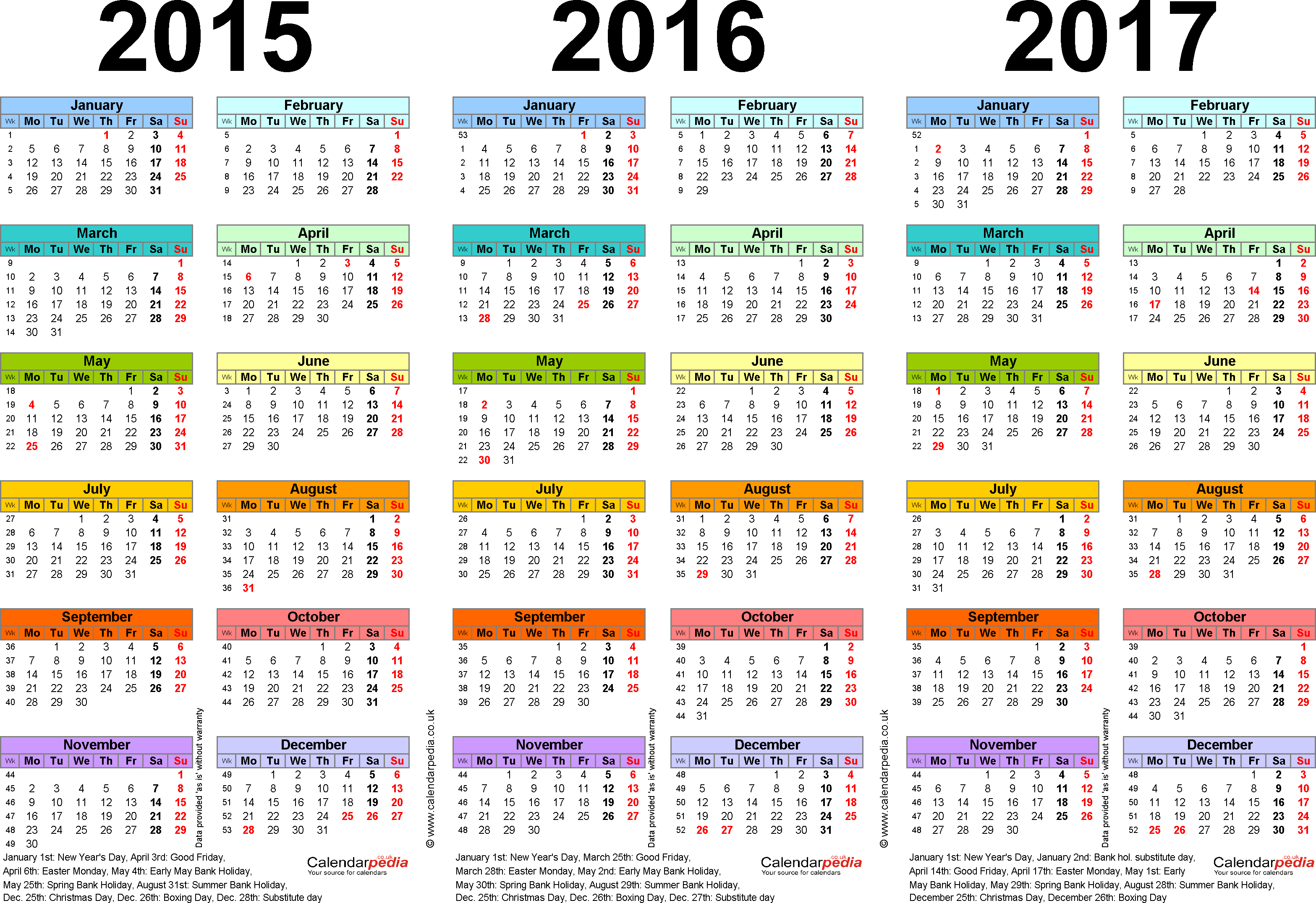 Template 1: PDF template for three year calendar 2015-2017 in colour (landscape orientation, 1 page, A4)