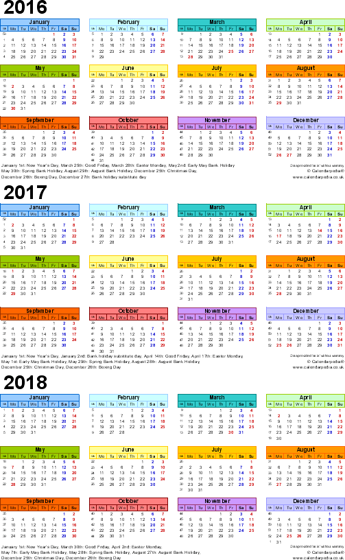 Template 3: Excel template for three year calendar 2016-2018 in colour (portrait orientation, 1 page, A4)
