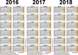 Template 2: PDF template for three year calendar 2016/2017/2018 (landscape orientation, 1 page, A4)