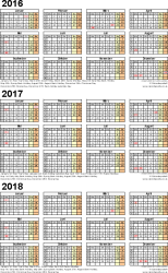 Template 4: Excel template for three year calendar 2016/2017/2018 (portrait orientation, 1 page, A4)