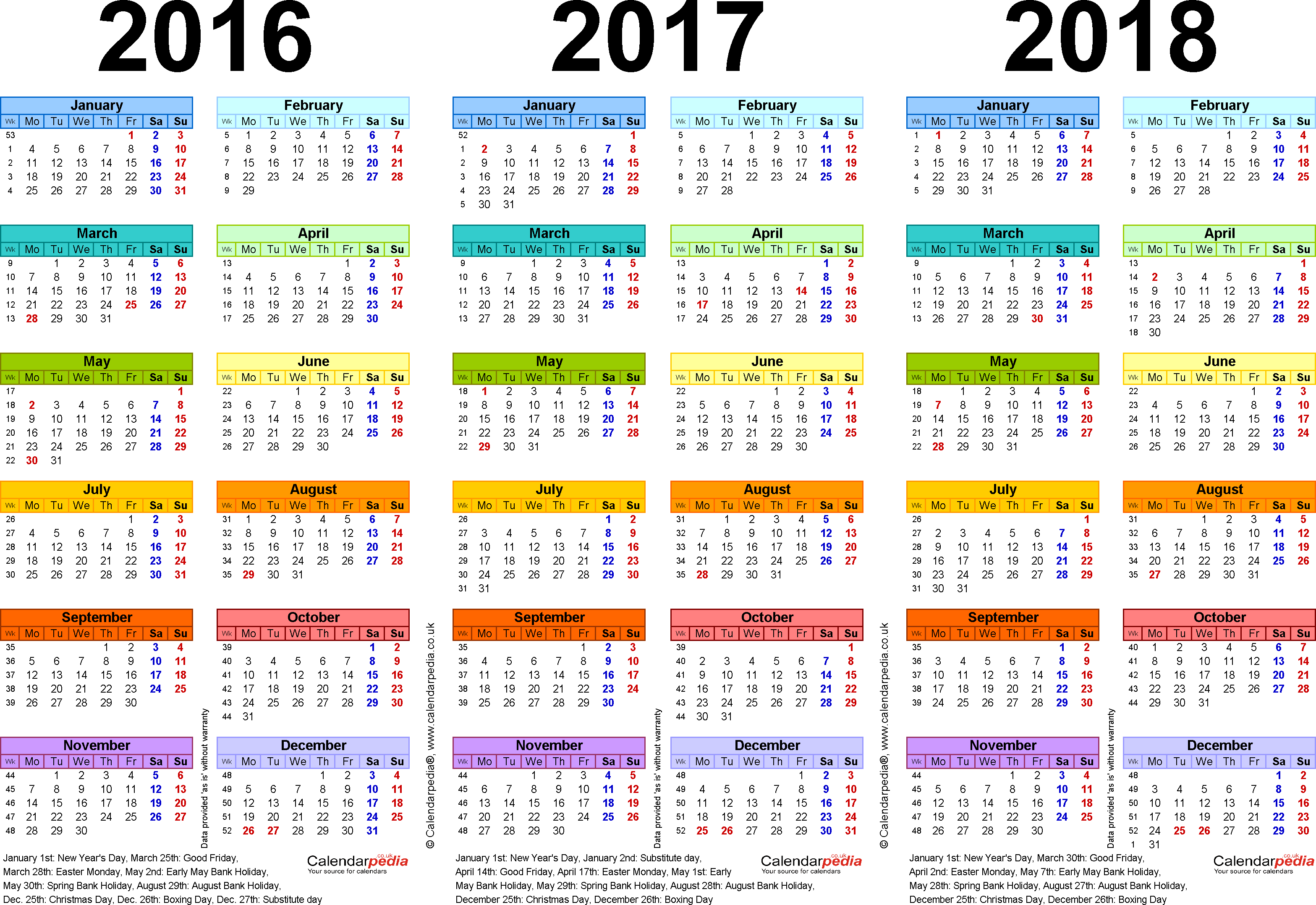 Template 1: Excel template for three year calendar 2016/2017/2018 in colour (landscape orientation, 1 page, A4)