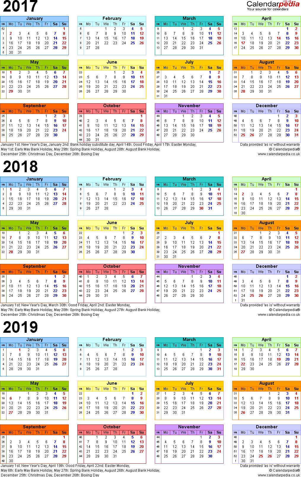 Template 3: Word template for three year calendar 2017-2019 in colour (portrait orientation, 1 page, A4)